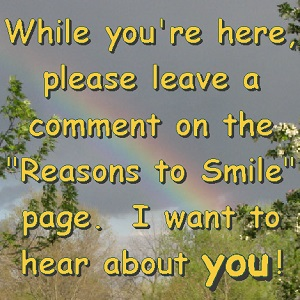 "picture saying ""While you're here, please leave a comment on the 'Reasons to Smile' page."""